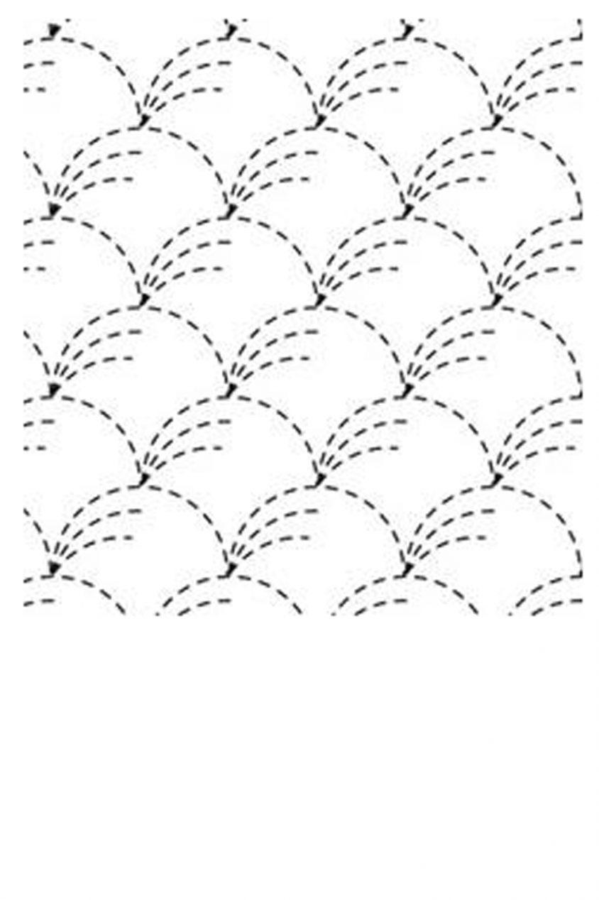 sashiko cloth printed with traditional nowaki design