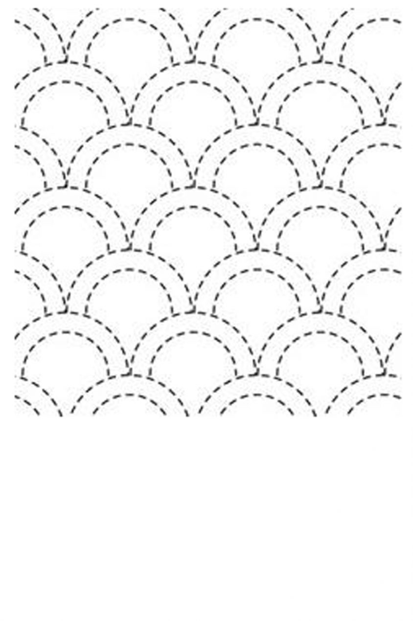 sashiko cloth printed with traditional seikaiha design
