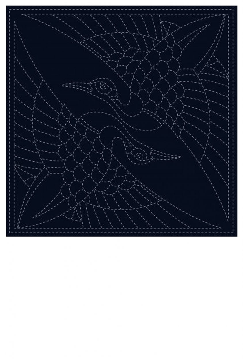 sashiko cloth printed with two cranes