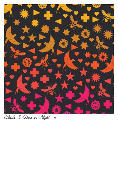 art theory birds bees in night yardage