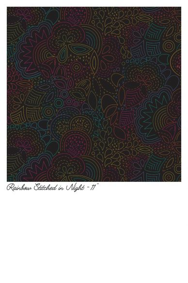 art theory rainbow stitched in night yardage