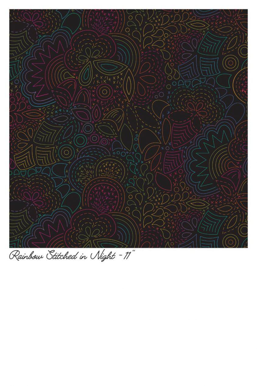 art theory rainbow stitched in night yardage
