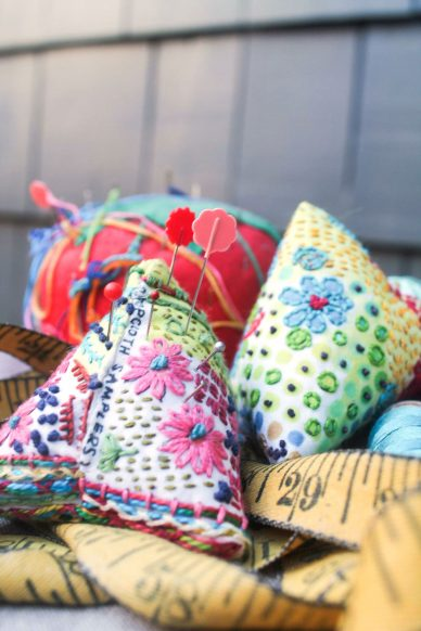 drop cloth pin cushion sampler