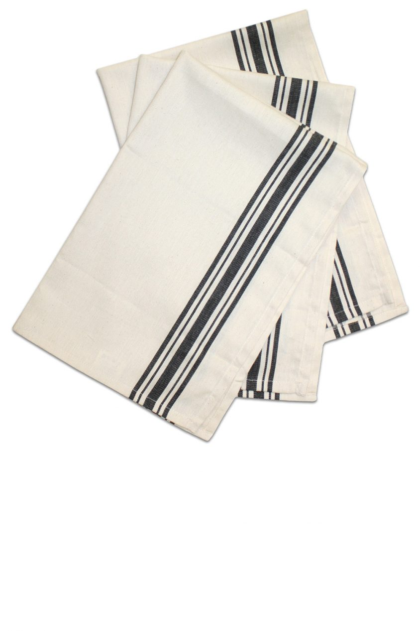 black herringbone stripe dish towel