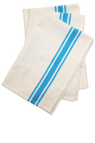 turquoise twill stripe dish towel