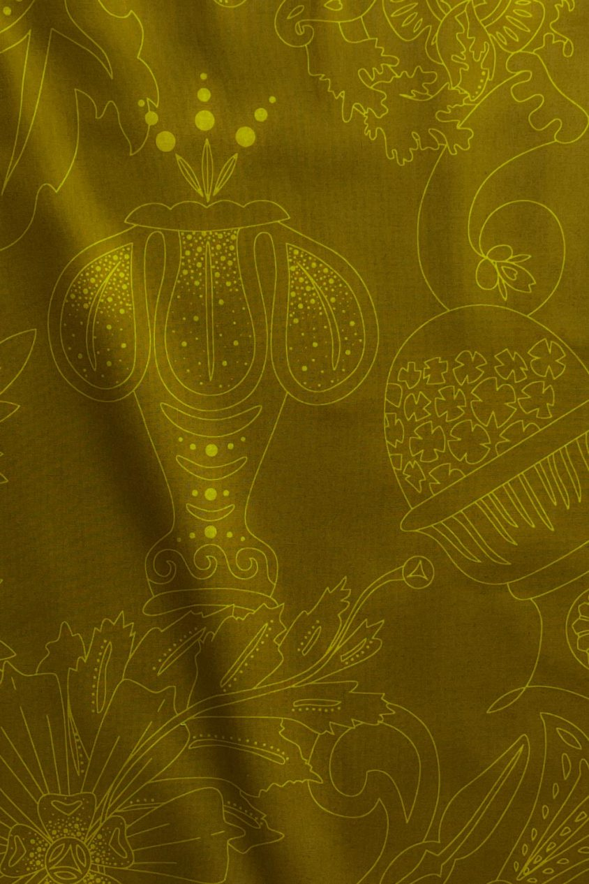 sun print luminance carved in chartreuse yardage