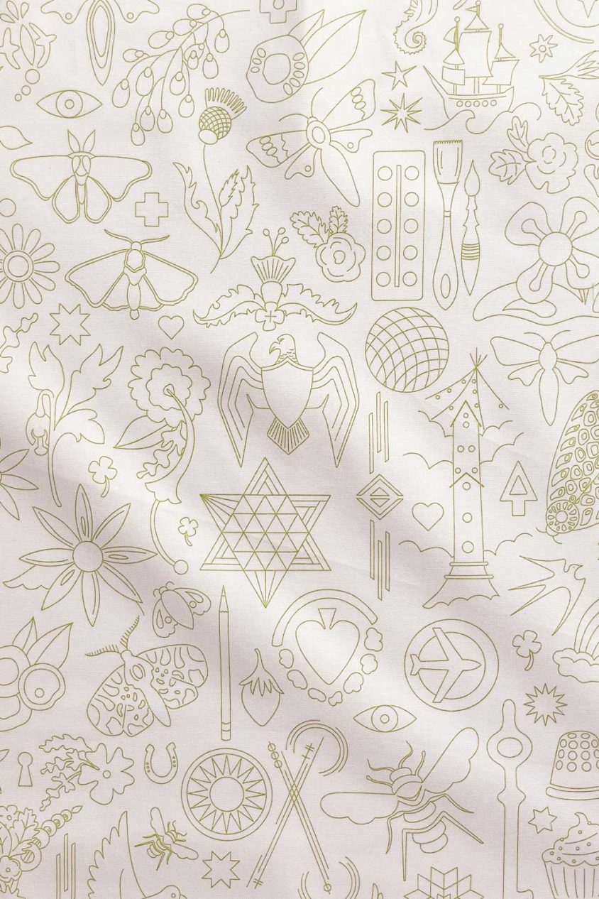sun print luminance embroidery in moss yardage