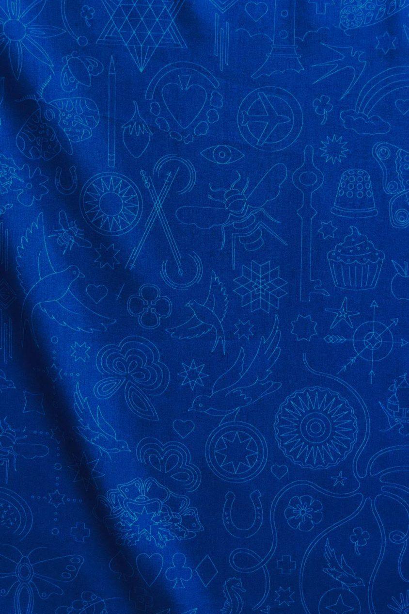 sun print luminance embroidery in royal yardage