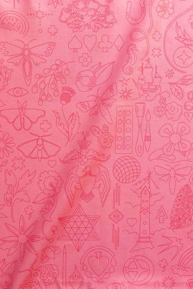 sun print luminance embroidery in taffy yardage