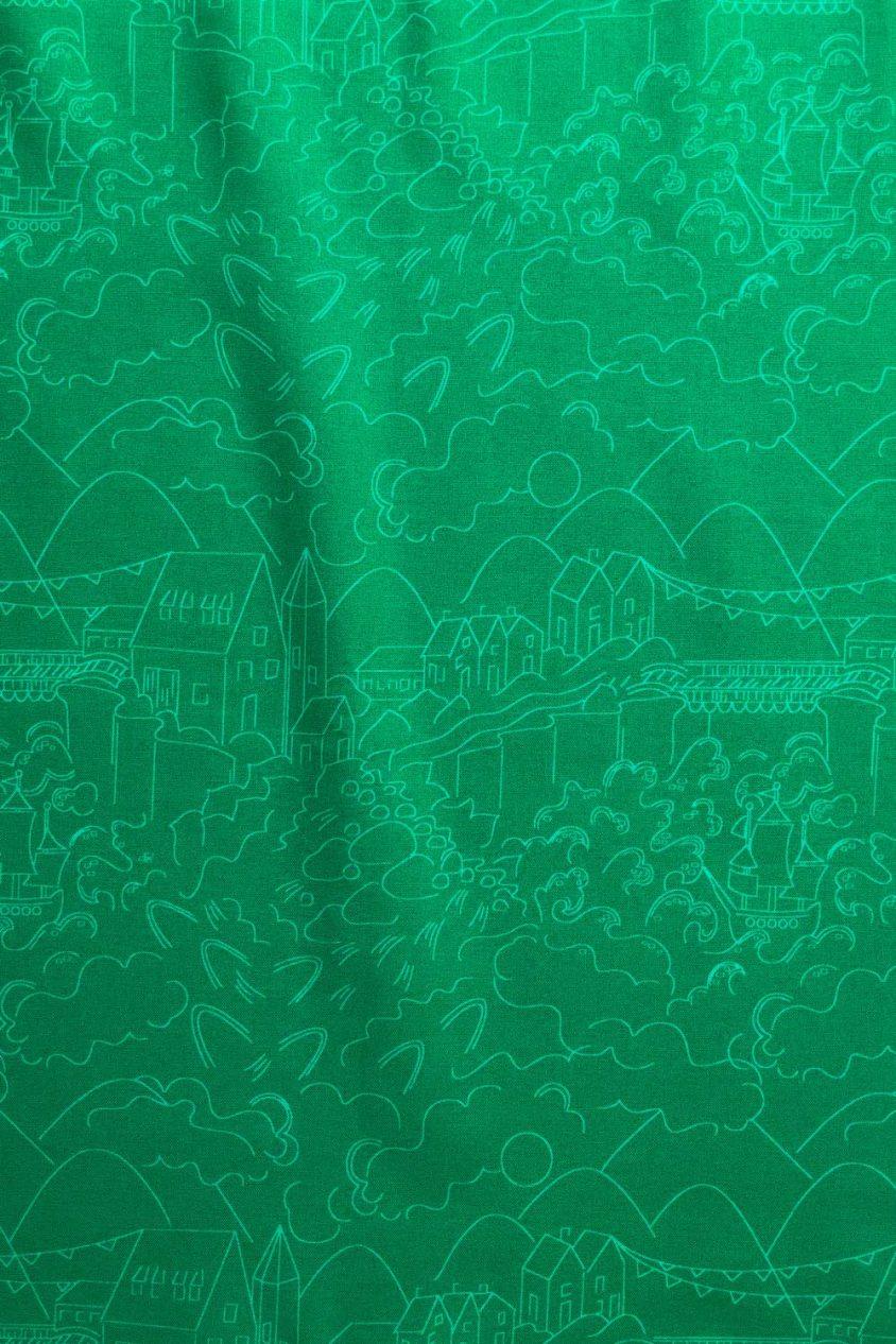 sun print luminance village in emerald yardage