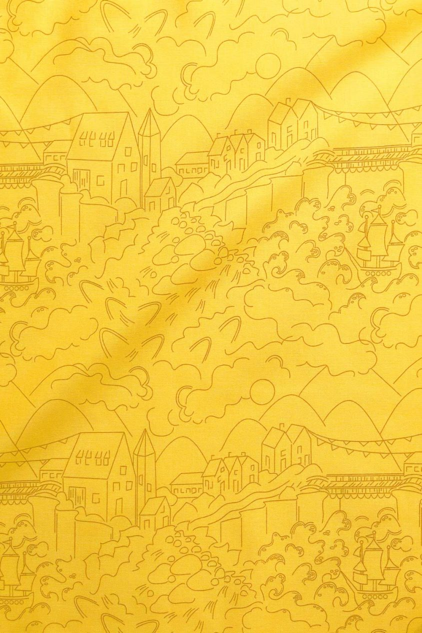 sun print luminance village in lemon yardage